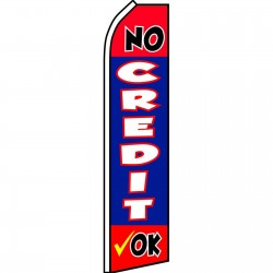 No Credit Ok Blue Swooper Flag