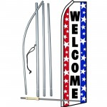 Welcome Red White Blue Swooper Flag Bundle