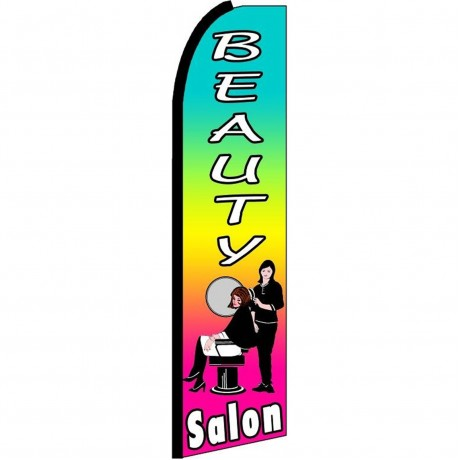 Beauty Salon Rainbow Extra Wide Swooper Flag