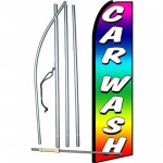 Car Wash Rainbow Extra Wide Swooper Flag Bundle