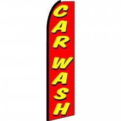Car Wash Red Yellow Extra Wide Swooper Flag