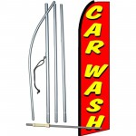 Car Wash Red Yellow Extra Wide Swooper Flag Bundle
