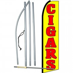 Cigars Yellow Red Extra Wide Swooper Flag Bundle