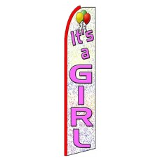 It's A Girl Extra Wide Swooper Flag