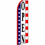Open Red White Blue Extra Wide Swooper Flag
