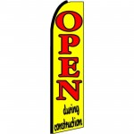 Open During Construction Extra Wide Swooper Flag