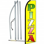 Pizza Extra Wide Swooper Flag Bundle