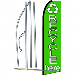Recycle Here Green Extra Wide Swooper Flag Bundle