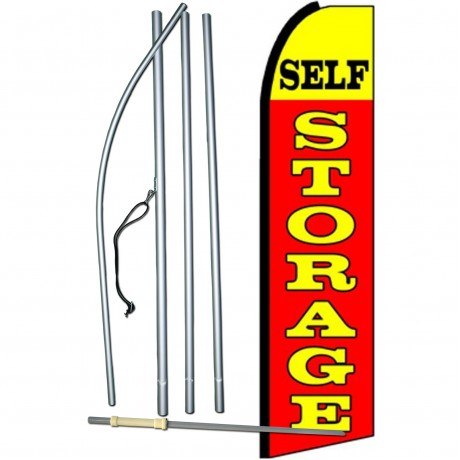 Self Storage Red Yellow Extra Wide Swooper Flag Bundle