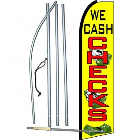 We Cash Checks Extra Wide Swooper Flag Bundle