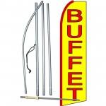 Buffet Yellow Extra Wide Swooper Flag Bundle