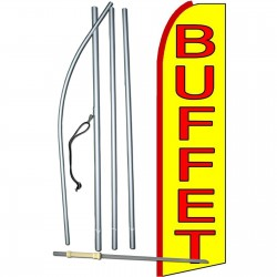 Buffet Yellow Extra Wide Swooper Flag Bundle
