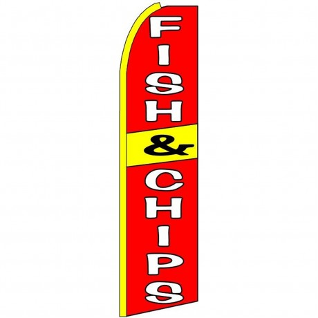 Fish & Chips Red Extra Wide Swooper Flag