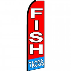 Fish Tacos Red Extra Wide Swooper Flag