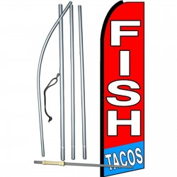 Fish Tacos Red Extra Wide Swooper Flag Bundle