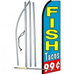 Fish Tacos .99 Cents Extra Wide Swooper Flag Bundle