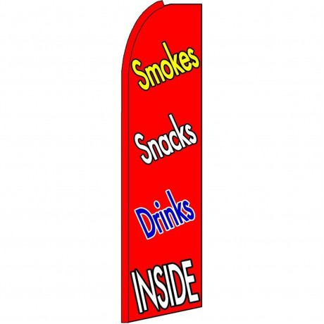 Smokes Snacks Drinks Inside Extra Wide Swooper Flag