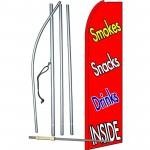 Smokes Snacks Drinks Inside Extra Wide Swooper Flag Bundle