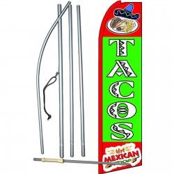 Tacos Green Extra Wide Swooper Flag Bundle