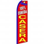 100% Comida Casera Extra Wide Swooper Flag
