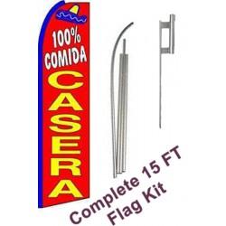 100% Comida Casera Extra Wide Swooper Flag Bundle