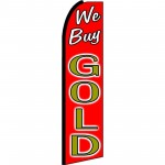We Buy Gold Red Extra Wide Swooper Flag