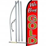 We Buy Gold Red Extra Wide Swooper Flag Bundle