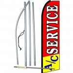 A/C Service Red Yellow Extra Wide Swooper Flag Bundle