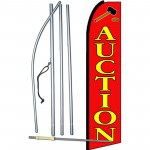 Auction Red Extra Wide Swooper Flag Bundle