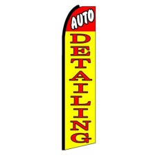 Auto Detailing Yellow Red Extra Wide Swooper Flag