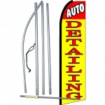 Auto Detailing Yellow Extra Wide Swooper Flag Bundle