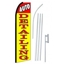 Auto Detailing Yellow Red Extra Wide Swooper Flag Bundle