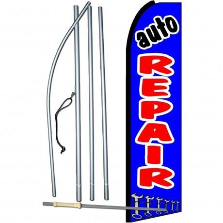 Auto Repair Blue Extra Wide Swooper Flag Bundle