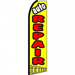 Auto Repair Yellow Extra Wide Swooper Flag
