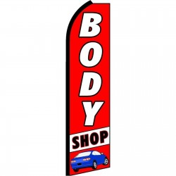 Body Shop Red Extra Wide Swooper Flag