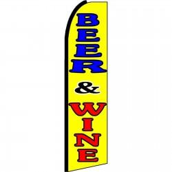 Beer & Wine Yellow Extra Wide Swooper Flag