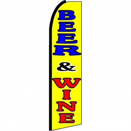 Beer & Wine Yellow Extra Wide Swooper Flag