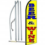 Beer & Wine Yellow Extra Wide Swooper Flag Bundle