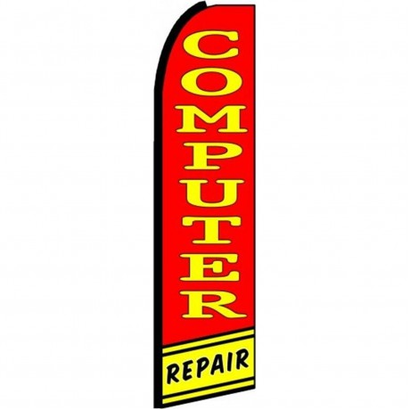 Computer Repair Red Yellow Extra Wide Swooper Flag