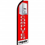 Computer Repair Red White Extra Wide Swooper Flag