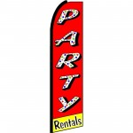 Party Rentals Red Extra Wide Swooper Flag