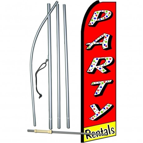 Party Rentals Red Extra Wide Swooper Flag Bundle