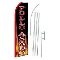 Pollo Asado (Roast Chicken) Extra Wide Swooper Flag Bundle