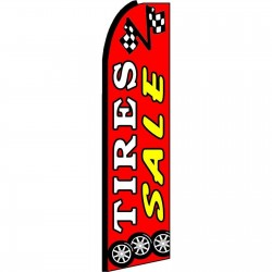 Tires Sale Red Extra Wide Swooper Flag