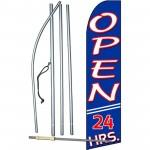 Open 24 Hours Extra Wide Swooper Flag Bundle