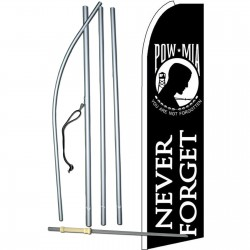 POW MIA Never Forget Extra Wide Swooper Flag Bundle