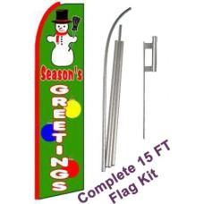 Season's Greetings Extra Wide Swooper Flag Bundle