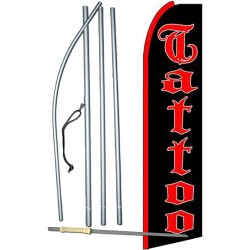 Tattoo Black Extra Wide Swooper Flag Bundle