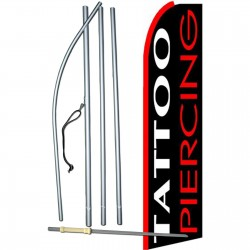 Tattoo Piercing Black Extra Wide Swooper Flag Bundle