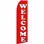 Welcome Red Extra Wide Swooper Flag